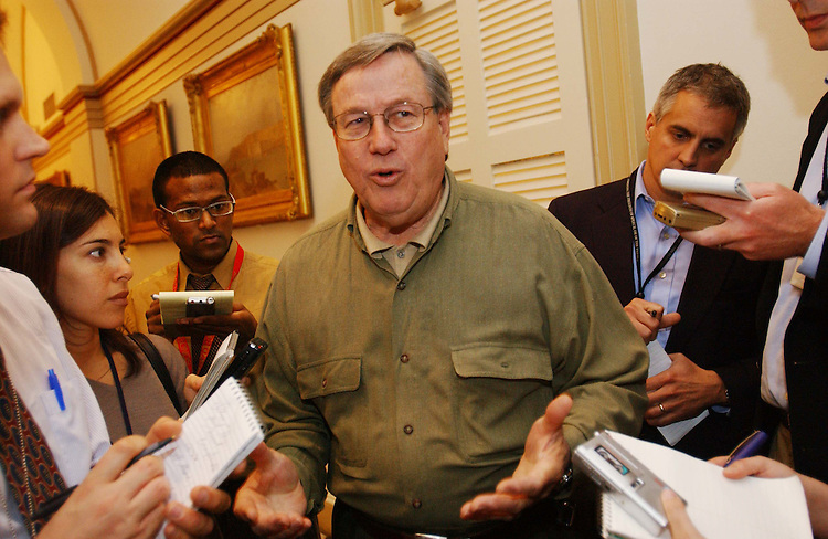 10/24/03.MEDICARE CONFEREES NEGOTIATE--Ways and Means Chairman Bill Thomas, R-Calif., talks to reporters after a meeting of Medicare conferees in the U.S. Capitol. Thomas is also the conference chair..CONGRESSIONAL QUARTERLY PHOTO BY SCOTT J. FERRELL