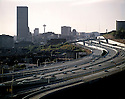 BI52,602-02...WASHINGTON - 1969 photograph of Interstate 5 and downtown Seattle. Photo By Ira Spring