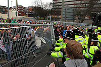 EDL try to break out from their enclosure in a spacious car park Dudley, UK, 3/4/10