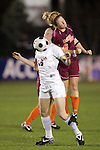 07 November 2008: Virginia's Maggie Kistner (16) and Virginia Tech's Kelly Lynch (6). The University of Virginia and Virginia Tech played to a 1-1 tie after 2 overtimes at WakeMed Stadium at WakeMed Soccer Park in Cary, NC in a women's ACC tournament semifinal game.  Virginia Tech advanced to the final on penalty kicks, 2-1.