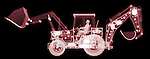X-ray image of a loader with backhoe (red on black) by Jim Wehtje, specialist in x-ray art and design images.