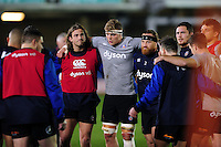 The Bath Rugby team huddle together during the pre-match warm-up. European Rugby Challenge Cup match, between Bath Rugby and Cardiff Blues on December 15, 2016 at the Recreation Ground in Bath, England. Photo by: Patrick Khachfe / Onside Images