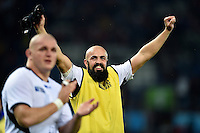 Viorel Lucaci of Romania celebrates the win after the match. Rugby World Cup Pool D match between Canada and Romania on October 6, 2015 at Leicester City Stadium in Leicester, England. Photo by: Patrick Khachfe / Onside Images