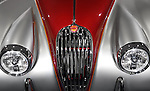 1955 Jaguar XK140 FHC custom classic vintage car front grill and headlights details closeup