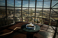 On a viewing platform at the top of the Bayterek tower, inside a gaint glass orb, sits a glided handprint of President Nursultan Nazarbayev, set in 2kg of solid gold, facing east towards his palace. Designed by Nazarbayev, the 97m high tower represents a Kazakh legend in which a mythical bird of happiness, named Samruk, lays a golden egg atop a tall poplar tree. Kazakhs visit the building to place their hand in the handprint and make a wish.