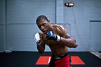 Jackson's/Winklejohn's: January 23, 2012 MMA fighter Willie Parks shadow boxes after coach Jackson's class at Jackson's/Winkeljohn's in Albuquerque, NM