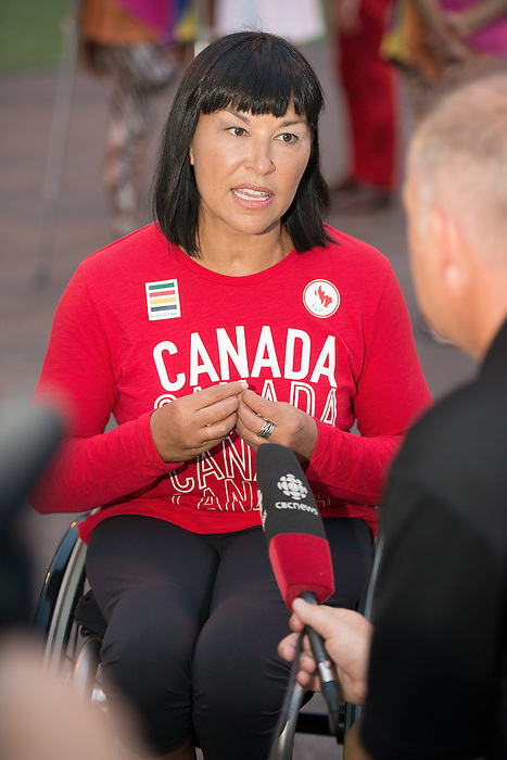 RIO DE JANEIRO - 5/9/2016:  Chantal Petitclerc speaks to media at the flag raising welcome ceremony for Canada in the International Zone of the Paralympic Village at the Rio 2016 Paralympic Games. (Photo by Matthew Murnaghan/Canadian Paralympic Committee