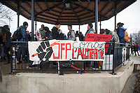 Montreal,CANADA, April 2, 1015.<br /> <br /> Students from Joseph-Francois-Perrault High school protest outside their school before joining<br /> Thousands of people including unions and students protesting  the Quebec government&rsquo;s austerity measures in Montreal Thursday april 2nd.<br /> <br /> <br /> PHOTO : Philippe Manh Nguyen - Quebec Presse