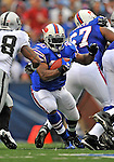21 September 2008: Buffalo Bills' running back Marshawn Lynch in action against the Oakland Raiders at Ralph Wilson Stadium in Orchard Park, NY. The Bills rallied for 10 unanswered points in the 4th quarter to defeat the Raiders 24-23 marking their first 3-0 start of the season since 1992...Mandatory Photo Credit: Ed Wolfstein Photo