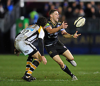 Rhys Priestland of Bath Rugby passes the ball. European Rugby Champions Cup match, between Bath Rugby and Wasps on December 19, 2015 at the Recreation Ground in Bath, England. Photo by: Patrick Khachfe / Onside Images