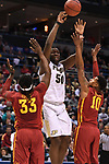 MILWAUKEE, WI - MARCH 18: Purdue Boilermakers forward Caleb Swanigan (50) passes over two Iowa State Cyclones defenders during the first half of the 2017 NCAA Men's Basketball Tournament held at BMO Harris Bradley Center on March 18, 2017 in Milwaukee, Wisconsin. (Photo by Jamie Schwaberow/NCAA Photos via Getty Images)