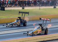 Oct 16, 2016; Ennis, TX, USA; NHRA top fuel driver Leah Pritchett (near) alongside Scott Palmer during the Fall Nationals at Texas Motorplex. Mandatory Credit: Mark J. Rebilas-USA TODAY Sports