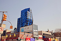 New York City, NY, Blue Building designed Bernard Tschumi, 105 Norfolk Street, Delancy Street