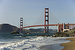 San Francisco: Baker Beach with Golden Gate Bridge in background.  Photo # 2-casanf83478.  Photo copyright Lee Foster.