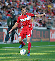 Chicago Fire forward Brian McBride (20) looks to pass the ball.  The Chicago Fire tied DC United 0-0 at Toyota Park in Bridgeview, IL on Oct. 16, 2010.