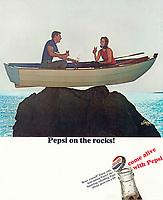 Pepsi on the rocks! Ad, 1966. Photo by John G. Zimmerman.