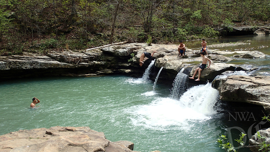 NWA Democrat-Gazette/FLIP PUTTHOFF <br /> Kings River Falls is an inviting place to take a dip      April 14 2017      and is the local swimming hole.