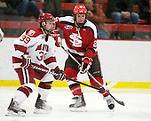 Pier-Olivier Michaud (Harvard - 39), Riley Austin (St. Lawrence - 23) - The Harvard University Crimson defeated the St. Lawrence University Saints 4-3 on senior night Saturday, February 26, 2011, at Bright Hockey Center in Cambridge, Massachusetts.