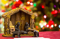 NWA Democrat-Gazette/JASON IVESTER <br /> (made from oxidized coal from the coal mines of Virginia) one of the Nativity scenes on Monday, Dec. 7, 2015, inside the First United Methodist Church of Bella Vista. About 70 various Nativity scenes owned by the church's members were on display for the evening.