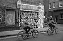 London, UK. 04.04.2015. Cyclists on a cycle tour, East London. Photograph © Jane Hobson.