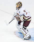 Cory Schneider (Boston College - Marblehead, MA) takes part in warmups. The Michigan State Spartans defeated the Boston College Eagles 3-1 (EN) to win the national championship in the final game of the 2007 Frozen Four at the Scottrade Center in St. Louis, Missouri on Saturday, April 7, 2007.