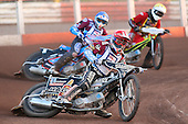 Heat 6: Richardson (red), Nieminen (blue) and Wethers - Lakeside Hammers vs Wolverhampton Wolves - Sky Sports Elite League Speedway at Arena Essex Raceway, Purfleet - 24/05/10 - MANDATORY CREDIT: Gavin Ellis/TGSPHOTO - Self billing applies where appropriate - Tel: 0845 094 6026