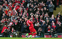 Liverpool's Emre Can celebrates scoring his sides winning goal <br /> <br /> Photographer Rich Linley/CameraSport<br /> <br /> The Premier League - Liverpool v Burnley - Sunday 12 March 2017 - Anfield - Liverpool<br /> <br /> World Copyright &copy; 2017 CameraSport. All rights reserved. 43 Linden Ave. Countesthorpe. Leicester. England. LE8 5PG - Tel: +44 (0) 116 277 4147 - admin@camerasport.com - www.camerasport.com
