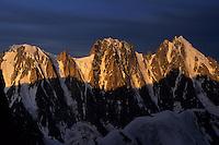 Les Courtes (3856m), Les Droites (4000m), La Verte (4121m) before a storm, August 1997