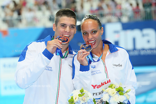 Giorgi Minisini & Mariangela Perrupato (ITA), JULY 30, 2015 - Synchronised Swimming : 16th FINA World Championships Kazan 2015 Mixed Duets Free Routine Medal Ceremony at Kazan Arena in Kazan, Russia. (Photo by Yohei Osada/AFLO SPORT)