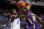 UK guard Archie Goodwin and LSU forward Johnny O'Bryant III battle for the ball during the second half of the men's basketball game vs. LSU at Rupp Arena, in Lexington, Ky., on Saturday, January 26, 2013. Photo by Genevieve Adams  | Staff.