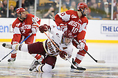 (Ruikka) Brian Gibbons (BC - 17), Corey Trivino (BU - 10) - The Boston College Eagles defeated the Boston University Terriers 3-2 (OT) in their Beanpot opener on Monday, February 7, 2011, at TD Garden in Boston, Massachusetts.