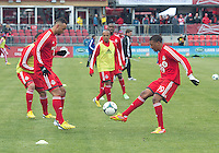 06 April 2013: Toronto FC midfielder Reggie Lambe #19 and Toronto FC midfielder John Bostock #7 in action during the warm-up in an MLS game between FC Dallas and Toronto FC at BMO Field in Toronto, Ontario Canada..The game ended in a 2-2 draw..