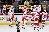 Team Detroit Red Wings during ice-hockey match between Los Angeles Kings and Detroit Red Wings in NHL league, February 28, 2011 at Staples Center, Los Angeles, USA. (Photo By Matic Klansek Velej / Sportida.com)