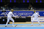 DURHAM, NC - FEBRUARY 26: Notre Dame's Ariel Simmons (right) and Dylan French (left) contest the Men's Epee championship final. The Atlantic Coast Conference Fencing Championships were held on February, 26, 2017, at Cameron Indoor Stadium in Durham, NC.