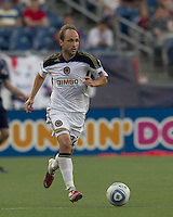 Philadelphia Union midfielder Justin Mapp (22) brings the ball forward. In a Major League Soccer (MLS) match, the Philadelphia Union defeated the New England Revolution, 3-0, at Gillette Stadium on July 17, 2011.