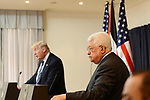 Palestinian President Mahmoud Abbas meeta with U.S. President Donald Trump at the presidential headquarters in the West Bank town of Bethlehem, May 23, 2017. Photo by Thaer Ganaim