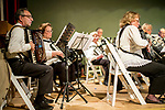 Waterbury, CT- 21  May 2017-052117CM06- Performers with the Connecticut Accordion Association orchestra along with students from Wolcott High School entertain an audience during a concert at the Mattatuck Museum on Sunday.  The song list included a blend of movie classics including jazz, classical and popular music. The group is looking to reintroduce the accordion into schools through an initiative called Bellows Up: The Great Squeeze Project.  Christopher Massa Republican-American