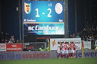 VOETBAL: CAMBUURSTADION: LEEUWARDEN: 15-12-2013, SC Cambuur AJAX, uitslag 1-2, AJAX viert het winnende doelpunt, ©foto Martin de Jong