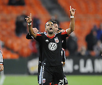 D.C. United forward Maicon Santos (29) celebrates with teammate Chris Pontius his score in the 11th minute of the game. D.C. United defeated The Houston Dynamo 3-2 at RFK Stadium, Saturday April 28, 2012.