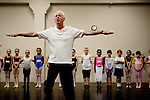 Sacramento Ballet Artistic Director Ron Cunningham teaches children a dance before they audition for the Sacramento Ballet's Nutcracker production on Sunday, September 10, 2006. (Photo by Max Whittaker)