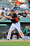 13 March 2012: Miami Marlins outfielder Kyle Jensen in action during a Spring Training game against the Atlanta Braves at Roger Dean Stadium in Jupiter, Florida. The two teams battled to a 2-2 tie playing 10 innings of Grapefruit League action. Mandatory Credit: Ed Wolfstein Photo