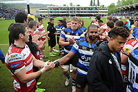 Aled Brew of Bath Rugby shakes hands with James Hook of Gloucester Rugby after the match. Aviva Premiership match, between Bath Rugby and Gloucester Rugby on April 30, 2017 at the Recreation Ground in Bath, England. Photo by: Patrick Khachfe / Onside Images