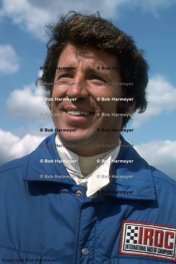 BROOKLYN, MI: Mario Andretti in the pit lane before the International Race of Champions event on September 13, 1975, at Michigan International Speedway near Brooklyn, Michigan.