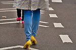 Colorful shoes, neon heels, worn at the Easter Day Parade in New York City on Fifth Avenue