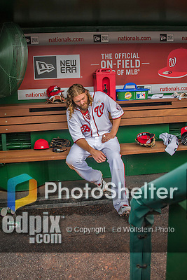 14 May 2016: Washington Nationals outfielder Jayson Werth waits for some leg pain to subside in the dugout during the first game of a double-header against the Miami Marlins at Nationals Park in Washington, DC. The Nationals defeated the Marlins 6-4 in the afternoon matchup.  Mandatory Credit: Ed Wolfstein Photo *** RAW (NEF) Image File Available ***