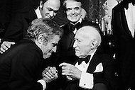 08 Jan 1973, Hollywood, Los Angeles, California, USA --- Charlton Heston congratulating Adolph Zukor at his 100th Birthday. --- Image by © JP Laffont