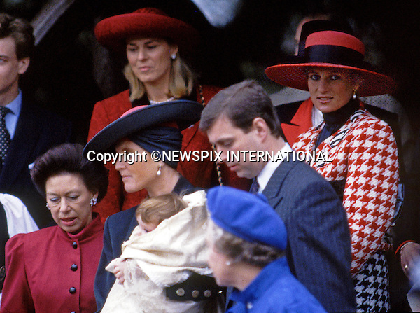 23.12.1990; Sandringham, UK: PRINCESS EUGENIE'S CHRISTENING<br /> 25 years-ago, Princess Eugenie Victoria Helena, the second daughter of Prince Andrew and Sarah, Duchess of York was the last Royal Christening to be held at St Mary Magdalene Church on the Sandringham Estate.<br /> Among the guests on the day was Princess Diana with sons Princes William amd Harry.<br /> Prince William as it turned out left the service with the &quot;baptism candle&quot;.<br /> Picture Shows: Princess Eugenie, Sarah,  Duchess of York, Prince Andrew, Princess Diana, The Queen, Susan Ferguson and James Ogilvy<br /> Mandatory Photo Credit: &copy;Francis Dias/NEWSPIX INTERNATIONA<br /> <br /> **ALL FEES PAYABLE TO: &quot;NEWSPIX INTERNATIONAL&quot;**<br /> <br /> PHOTO CREDIT MANDATORY!!: NEWSPIX INTERNATIONAL(Failure to credit will incur a surcharge of 100% of reproduction fees)<br /> <br /> IMMEDIATE CONFIRMATION OF USAGE REQUIRED:<br /> Newspix International, 31 Chinnery Hill, Bishop's Stortford, ENGLAND CM23 3PS<br /> Tel:+441279 324672  ; Fax: +441279656877<br /> Mobile:  0777568 1153<br /> e-mail: info@newspixinternational.co.uk