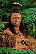 Maori man in kiwi cloak with facial tatooes, Rotorua, New Zealand