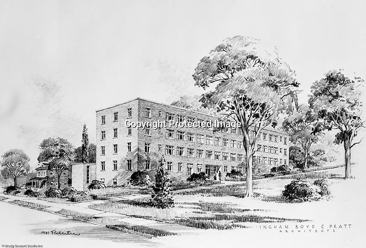 Pittsburgh PA:  An Ingham, Boyd and Pratt rendering of the proposed Oil City Hospital - 1951. Ingham, Boyd and Pratt were one of the premier architects in Pittsburgh that did a lot of work for Universities, hospitals and local school districts in the Pittsburgh area.