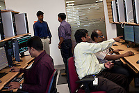 ALSTOM's employees working in the Bangalore Platform Room in Bangalore, Karnataka, India on 10th March 2011. .Photo by Suzanne Lee/Abaca Press